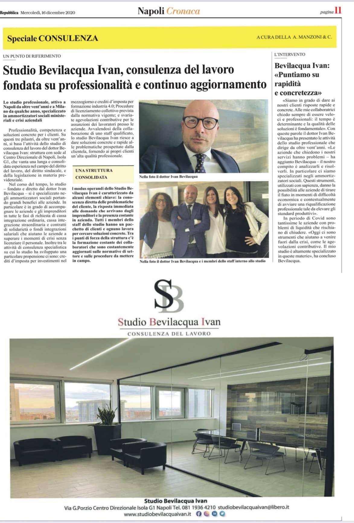 Intervista a La Repubblica